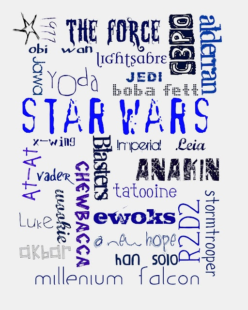 star wars printable subway art .. almost forgot this one! http://craftplaylove.blogspot.com/2012/01/my-star-wars-subway-art.html
