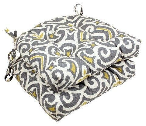 Pillow Perfect Gray New Damask Reversible Chair Pad Set Of 2 16