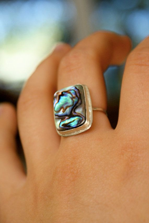 Rectangular Abalone Shell ring by hannahnaomi on Etsy, $57.00