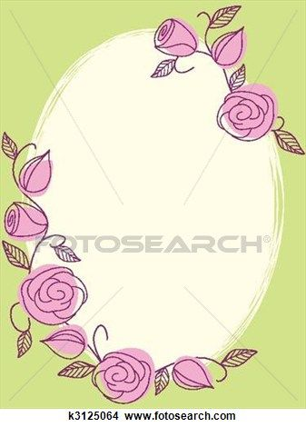 Springtime hand drawn frame with roses View Large Clip Art Graphic