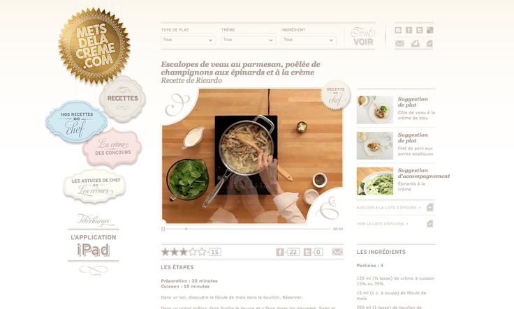 Theme: Reality/Realism, Accessible by Anyone. Mets de la Creme. Recipe site turns the boring prep into something interactive and fun by showing you from the angle of the cook what it would look like. Makes the process come to life.