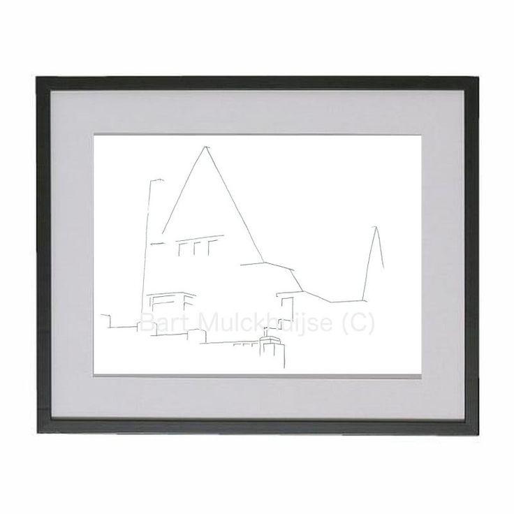 Minimalistische potlood tekening van het huis aan de Oliemolenstraat 44 te Heerlen door LeidseLijnen op Etsy