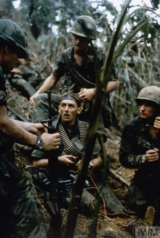 """uss-edsall: """"American soldiers of 101st Airborne Division discuss tactics during a sweep of the jungle area around the Fire Support Base protecting the Montagnard village of Mai Loc, 16 October..."""