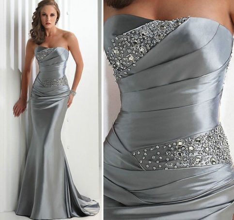 Strapless Silver Evening Dress Prom Dress Bridal Gown