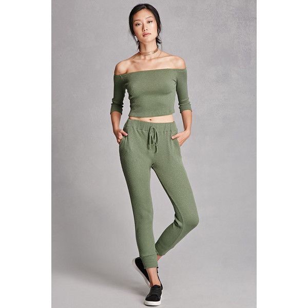 Forever21 Ribbed Knit Drawstring Pants ($19) ❤ liked on Polyvore featuring pants, olive, green camo pants, forever 21 pants, military green pants, olive pants and olive green pants