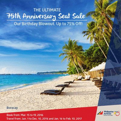Philippine Airlines Promo Fares 2016 - 2017: 75% Off on Plane Fares!