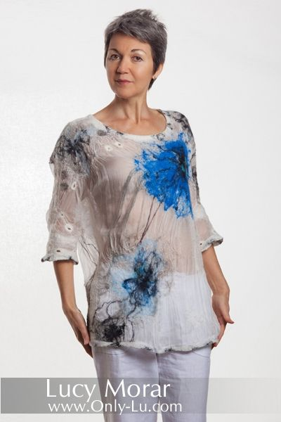 """Celestial Flowers"" Nuno Felt Loose Fit Top by Lucy Morar"