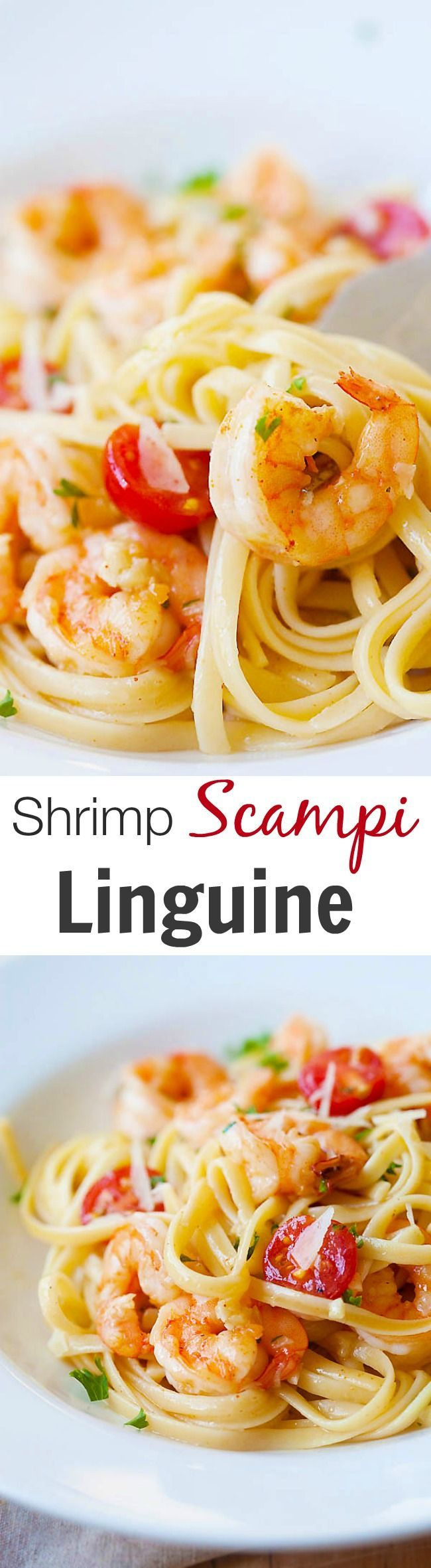 Garlicky buttery shrimp scampi linguine – quick & easy recipe that you can make in one pot for the family. Super yummy and you'll want it every day | rasamalaysia.com