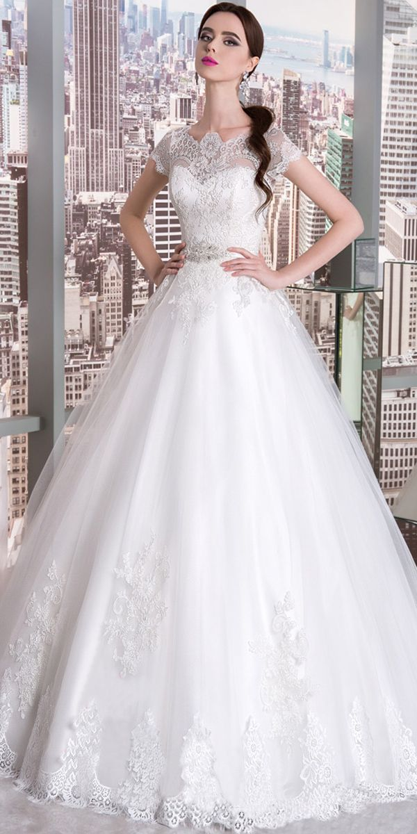 Attractive Tulle Jewel Neckline A-line Wedding Dress With Lace Appliques & Belt