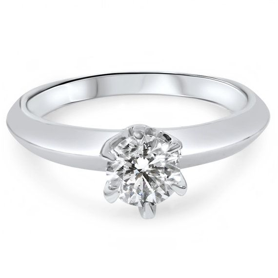 1/2CT Solitaire Diamond Engagement Ring Round by Pompeii3 on Etsy