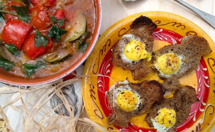 Ricetta spagnola: PISTO MANCHEGO con pulcini di pane all'aglio e uova di quaglia – Nordfoodovestest