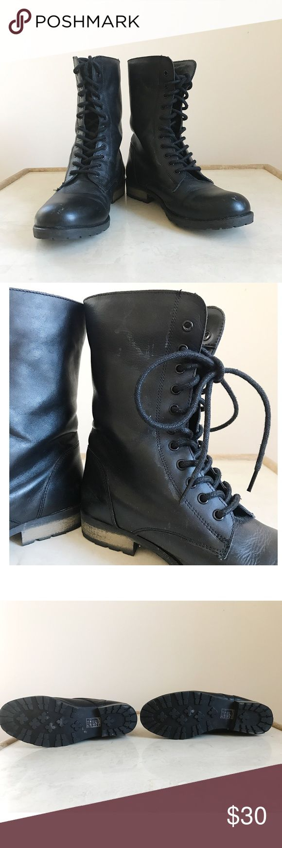 """Black Combat Boots Your basic black combat boot. A necessity in everyone's wardrobe. Goes with just about every outfit imaginable! Hits at about mid calf. 1"""" Heel, 8"""" Shaft. Lightly worn! A few scratches near the toes, and a few marks on side of the left boot which are barely noticeable while wearing. Brand Deena & Ozzy. Size 8. Good condition, lots of wear left! ✨ Deena & Ozzy Shoes Combat & Moto Boots"""