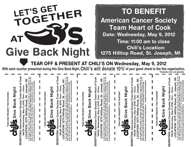 We have plenty of restaurants in the valley, where should we start?? (Relay for Life Fundraiser - Chili's Give Back Night - Benefiting the American Cancer Society - 1275 Hilltop Rd, St. Joseph, MI - Bring the voucher!)