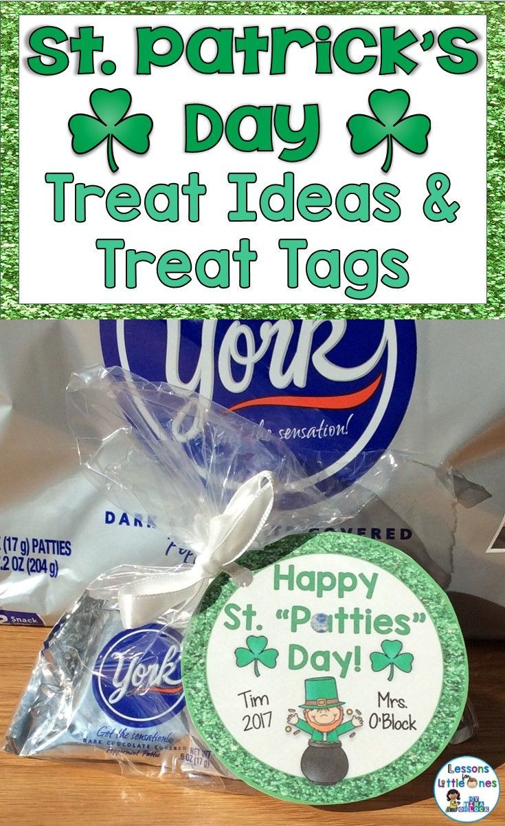 Ideas for cute St. Patrick's Day student treats and snacks as well as student gift tags and treat bag toppers. / St. Patrick's Day Treats for School