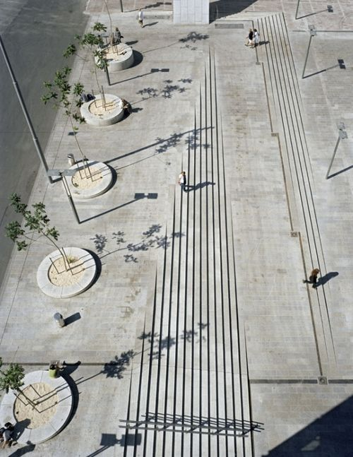 Landscape architecture urban stairs ramp