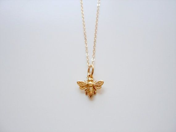 Honey Bee - Tiny 14k Gold Filled Honey Bumble Bee Necklace by Emeline Darling on Etsy, $28.00