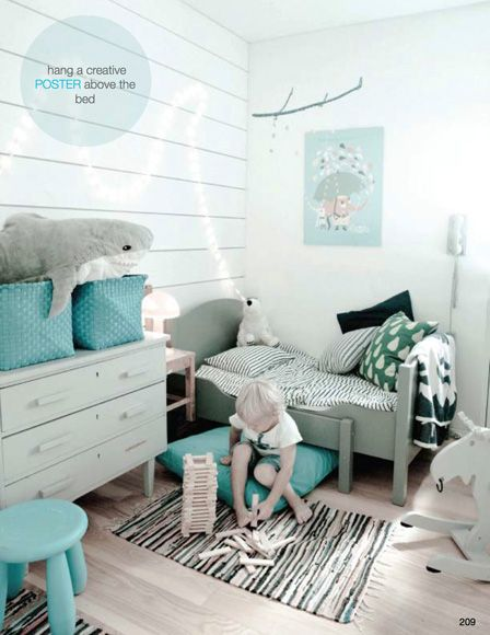 This gorgeous European room in turquoise belongs to one lucky child!