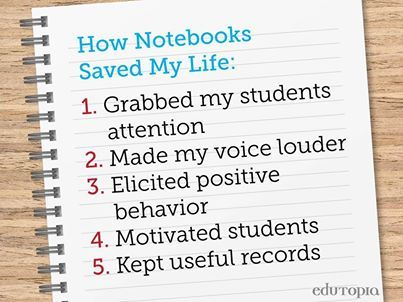 Looking for new ways to get your students attention and motivate them at the same time? Freshen up your classroom management skills by using the 'notebook system'.