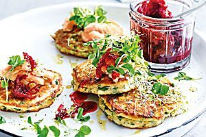 Greg Malouf's zucchini fritters with spinach and golden raisin dip - Recipes - delicious.com.au