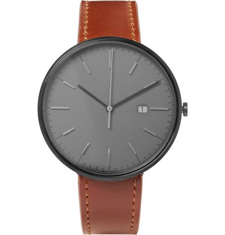 UNIFORM WARES UNIFORM WARES - M40 PVD-COATED STAINLESS STEEL AND LEATHER WATCH - GRAY. #uniformwares #