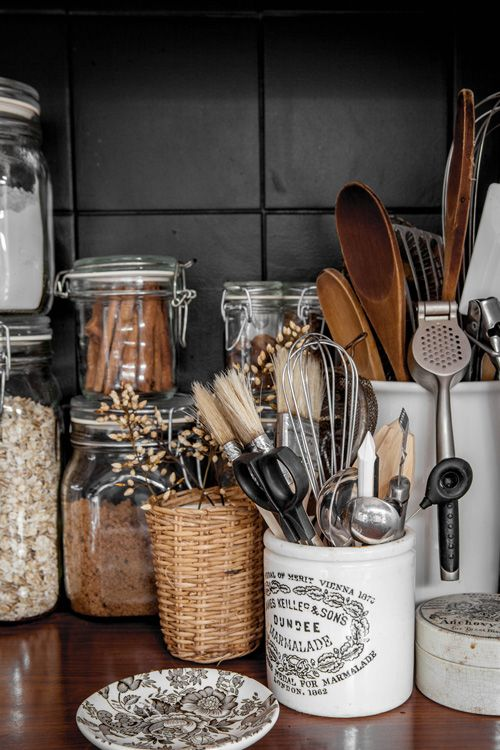 kitchen tools and spices are organized