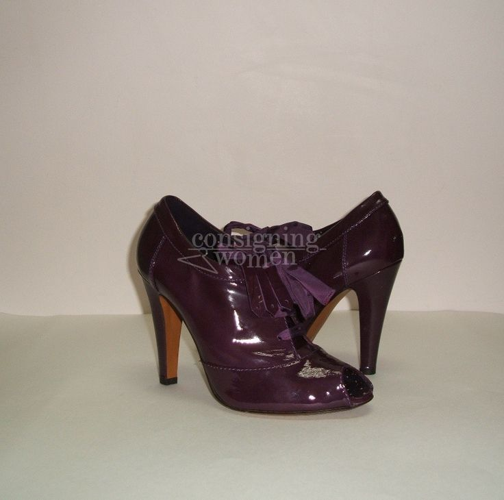Moschino Cheap and Chic purple patent leather Kiltie bootie, size 8. New  SOLD #Booties