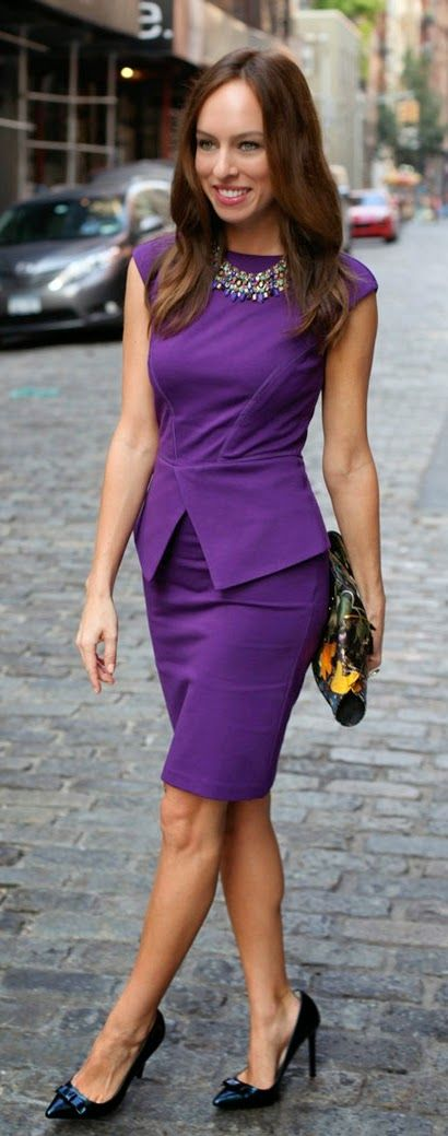 Peplum purple dress & statement necklace
