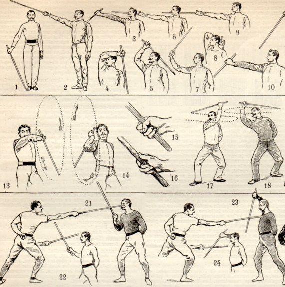 Lucha contra el palo Canne de combat impresión antigua 1897