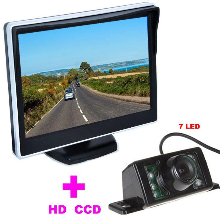 """7led車バックミラーカメラhd 170角+ 5 """"tft lcd車ミラーモニター車のバックアップカメラ2で1自動駐車支援システム"""