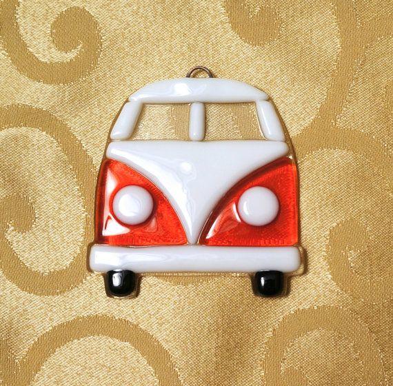 Fused Glass Volkswagen Van Suncatcher by GlassBySarahAllen on Etsy, $17.00