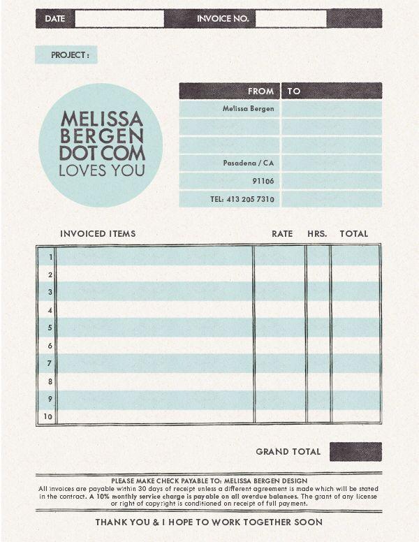 Melissa Bergen invoice