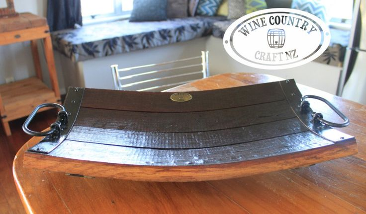 Wine Barrel Platter crafted with 100 year old oak. This stave platter is a gorgeous piece for any home. Use it as an up-market fruitbowl, server or anything else you can think of.