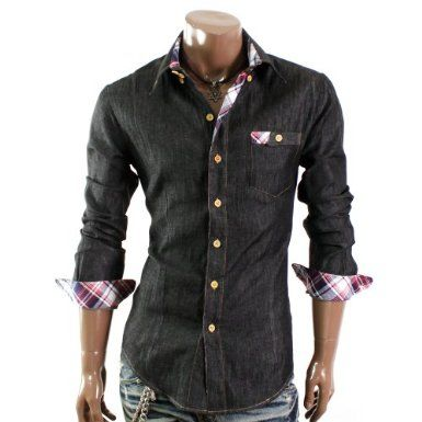 Doublju Mens Casual Patch Pocket Shirts