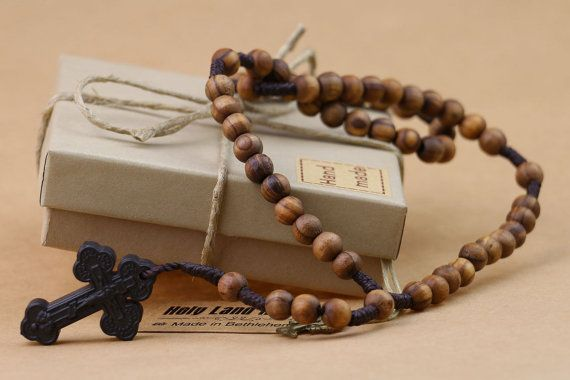 Original Olive Wood rosary with Holy Soil Cross -Free shipping -Rosary prayer - Hand Made - Holy rosary -Byzantine-EXCLUSIVE LIMITED EDITION