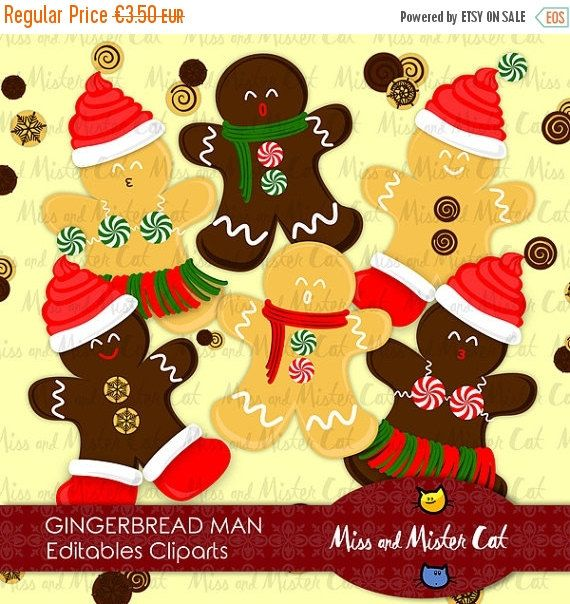 Gingerbread Man Cliparts. Digitals cliparts with Gingerbread Man and chocolates. Vector graphics, images.  Vector clipart set is suitable for