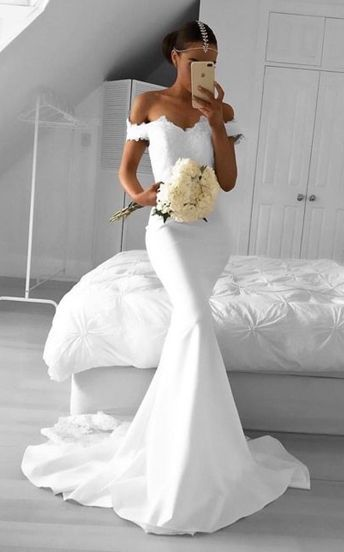 Hot Sexy Mermaid Off-Shoulder White Lace Long Prom Dress