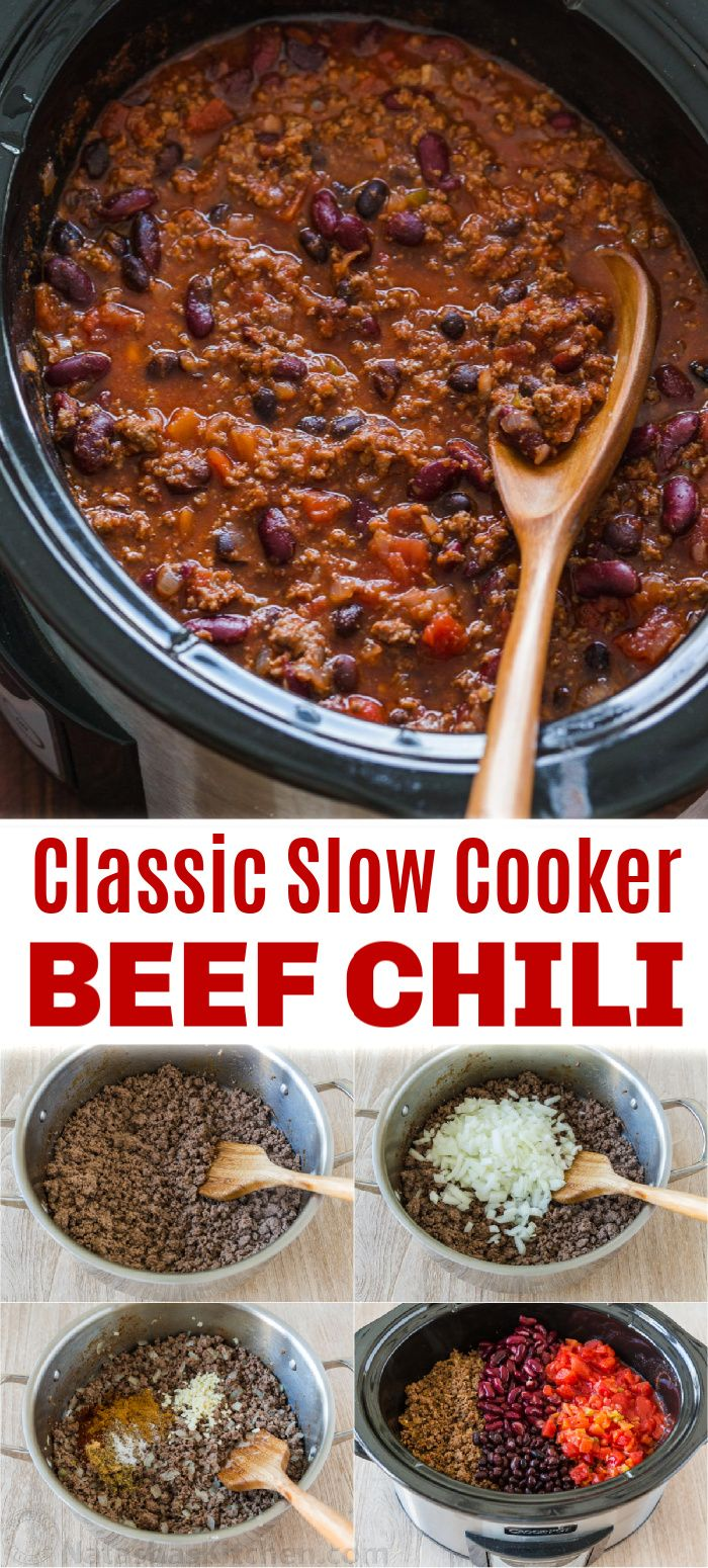 Slow Cooker Beef Chili Best Ever In 2020 Slow Cooker Chili Recipe Slow Cooker Chili Easy Slow Cooker Chili