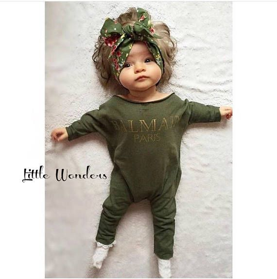 3fa6f227eac79 Baby Girl Balmain Paris Army Green Inspired Romper Size 1 (0-6 ...