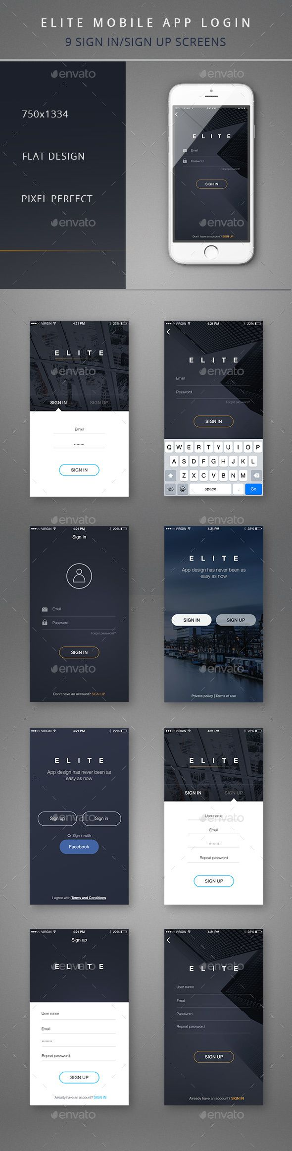 Elite Mobile App Login  - User Interfaces Web Elements