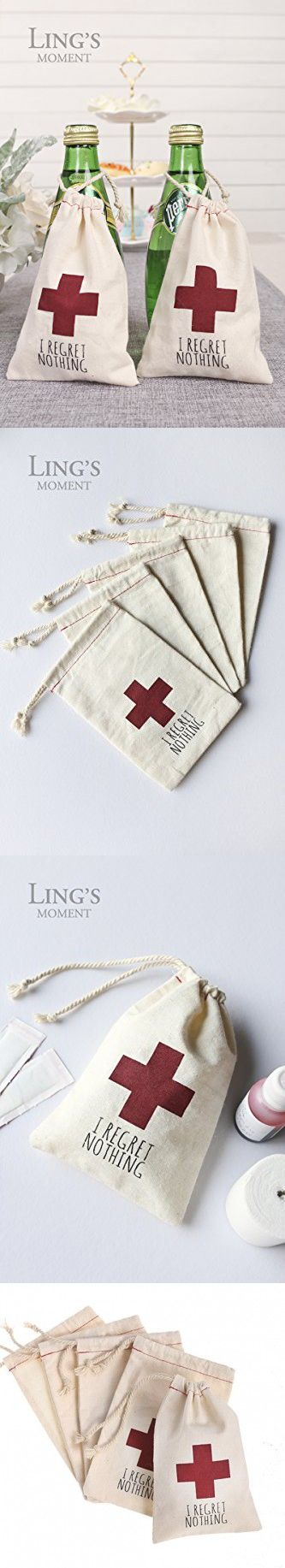 """Ling's moment 10 pcs 4""""x6"""" Muslin Hangover Kit Favor Bags I Regret Nothing Favor Bags Recovery Kit Survival Kit First Aid Kit Favor Bags for Bachelorette Annual Party Christmas New Years"""