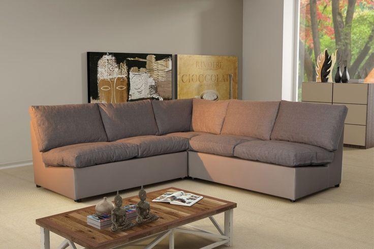 Modern Sofa - Canapé d'angle modulable Avanti taupe Microfibre Achat / Vente Canapés Tissu pas chers - RueDuCommerce