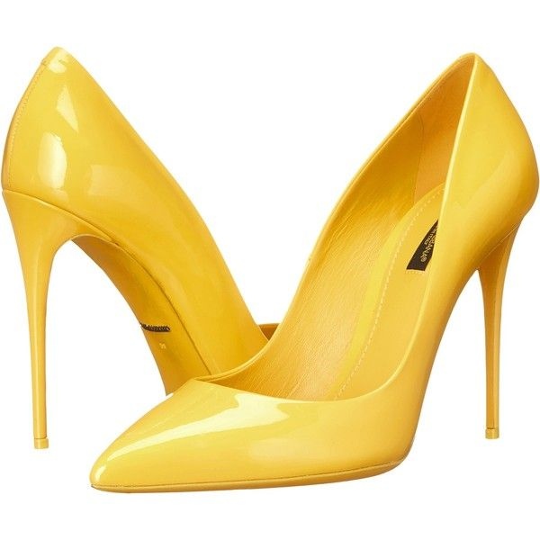 Dolce & Gabbana Vernice Pump (Sun) Women's Shoes found on Polyvore featuring shoes, pumps, yellow, yellow high heel pumps, pointed toe high heel pumps, yellow leather shoes, high heel pumps and slip on shoes