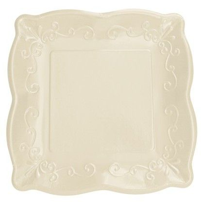 White Linen 10  Glossed Square Paper Dinner Plates - 48 Square Paper Plates #dinnerware  sc 1 st  Pinterest & 16 best PRETTY PAPER DINNERWARE images on Pinterest | Paper plates ...
