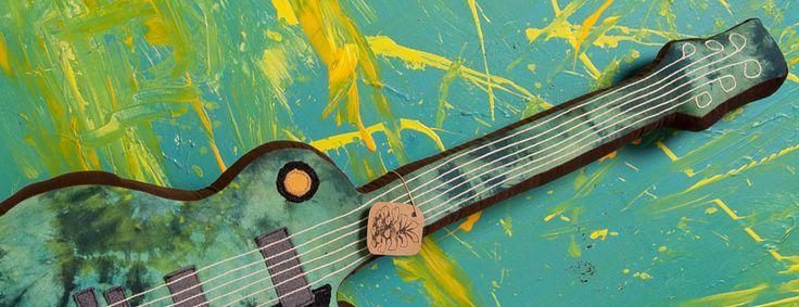 Unique interior guitars. Handmade soft guitar from recycled materials. #music #sisustus #kitara #musiikki