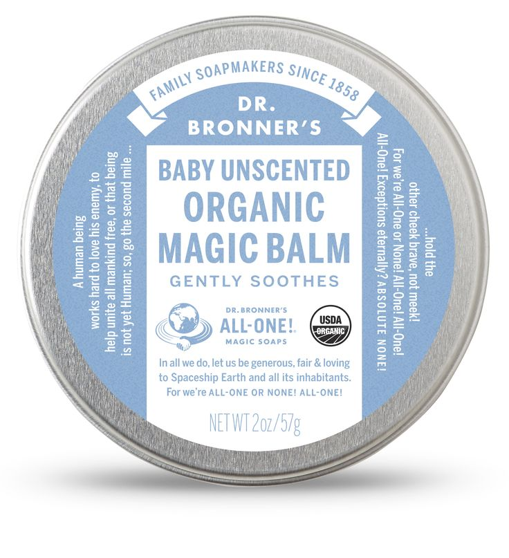 Dr. Bronner's Baby Unscented Organic Magic Balm: Use to moisturize-heal chapped-dry skin anywhere on your body! Quickly treat dry hands or cuticles, chapped chins or cheeks – provide relief for chafed skin where needed. Heal recently tattooed skin and brighten up old tattoos! For tattoo care, wash your tattoo with one of our soaps, pat the area dry and apply a thin layer of Organic Body Balm over the tattoo. OK!