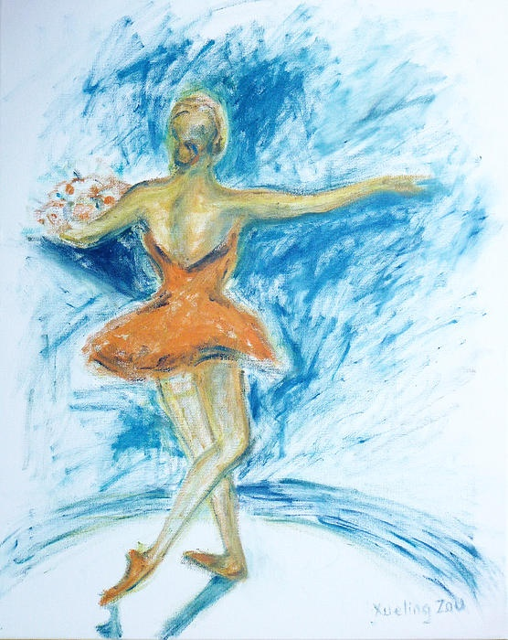 dance, dancer, dancing, ballerina, ballet, figurative, impressionism, impressionist, woman, girl, art, curtain call, classic, grace, music, oil, painting, original, performing, stage, tutu