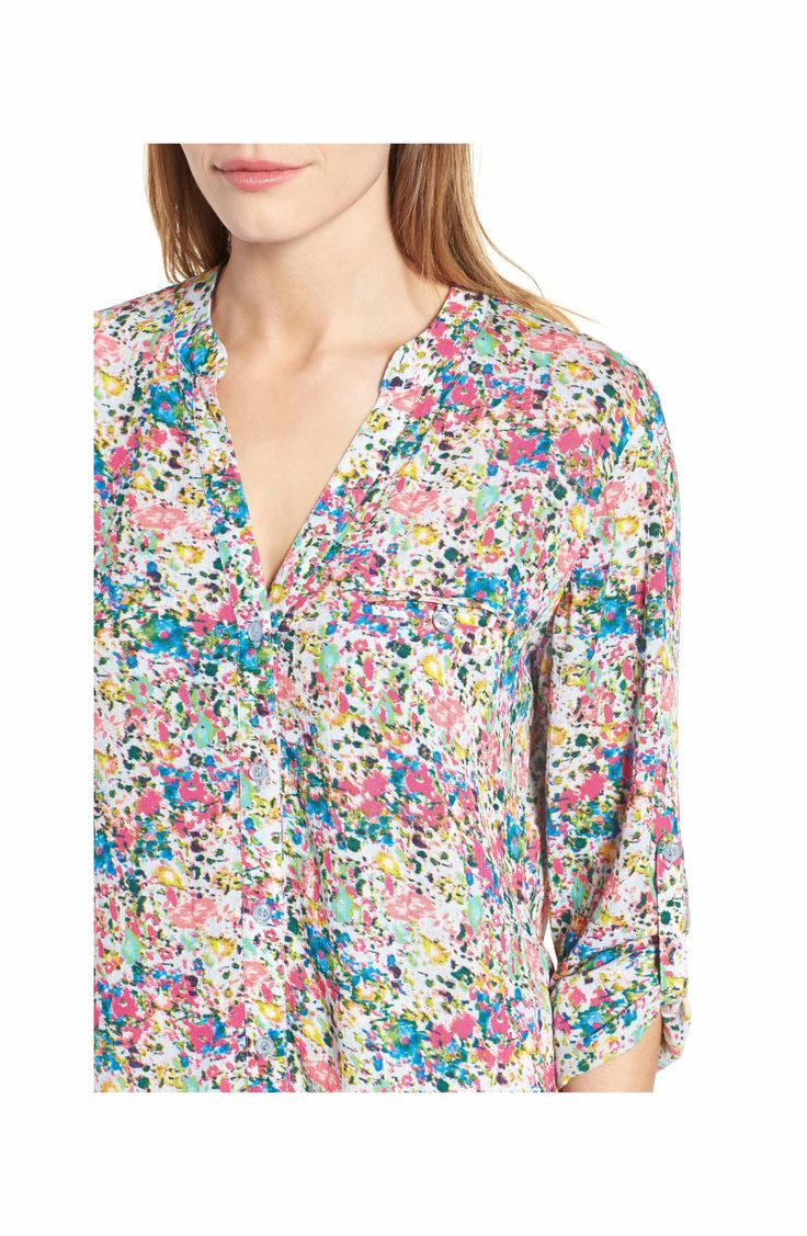 Main Image - KUT from the Kloth 'Jasmine' Floral Print Roll Sleeve Blouse