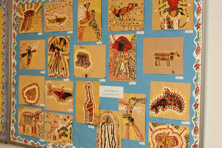 animal dot paintings in the style of Aboriginal Australian artists, 2/3 grades