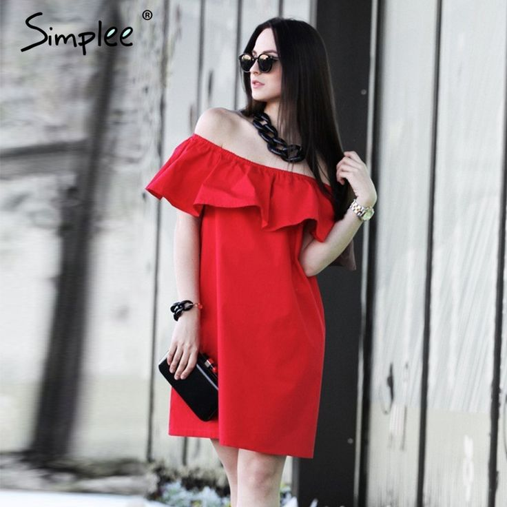 Simplee Ruffles off shoulder summer dress Women streetwear sleeveless short dress White sexy vestidos tube beach red dresses