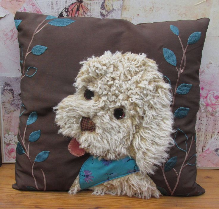 Beautiful handmade Patchwork Applique Labradoodle Puppy Dog cushion by WendyWadge on Etsy